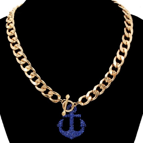 THINK VINTAGE ONLINE Jewelry - ✨BLUE SAIL GOLD TOGGLE NECKLACE *NWT*✨